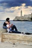 Romantisch paar bij Stock Foto