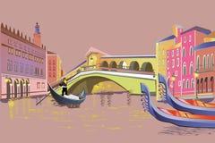 Romantisch paar in de gondelreizen langs Grand Canal in Italië stock illustratie