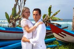 Romantisch paar op het strand Stock Foto