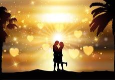 Romantisch paar tegen een zonsonderganghemel Stock Afbeelding