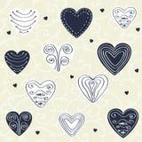 Romantisch patroon met hand getrokken harten Stock Foto