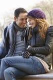 Romantisch portretpaar in openlucht in de winter Stock Afbeelding