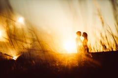 Romantisch silhouetpaar die en zich op de zonsondergang van de achtergrond de zomerweide bevinden kussen Royalty-vrije Stock Afbeeldingen