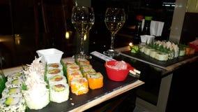 Romantisch Sushi & Wijndiner Stock Afbeelding