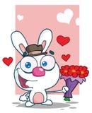 Romantisch wit konijntje dat een boeket van valentin houdt stock illustratie