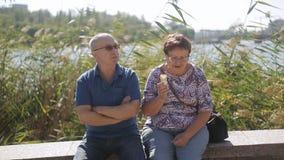 Romantische ältere Paare in der Liebe, die auf die Promenade geht stock video
