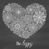 Romantische achtergrond met bloemenhart Patroon met bloemen De vorm van het hart De tekst gelukkig is Goed voor huwelijken, uitno Royalty-vrije Stock Foto's