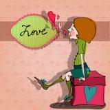 Romantische achtergrond met geïllustreerdeg jongen Royalty-vrije Stock Afbeelding