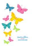 Romantische achtergrond met hand getrokken vlinder Stock Fotografie