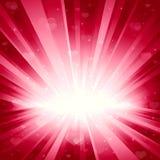 Romantische achtergrond met harten en sterren in roze Stock Fotografie
