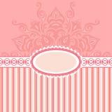 Romantische achtergrond met patroon en etiket. roze Royalty-vrije Stock Fotografie