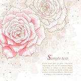 Romantische achtergrond met roze rozen Stock Foto's
