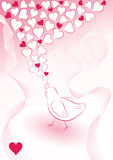 Romantische achtergrond met vogel Royalty-vrije Stock Foto's
