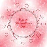 Romantische achtergrond voor Valentijnskaartendag met harten Stock Afbeelding