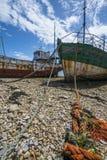 Romantische alte Fischerboote - Wracke Lizenzfreie Stockfotos