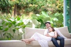 Romantische asiatische Paare Stockfoto