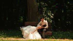 Romantische Atmosphäre Schöne Paare von Jungvermählten küssen zart Hübscher Bräutigam streicht weich die Backe von stock video