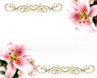 Romantische Auslegung der Lilien-Blumeneinladung Stockfotos