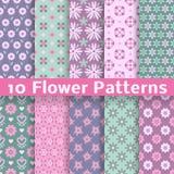Romantische bloem verschillende vector naadloze patronen stock illustratie