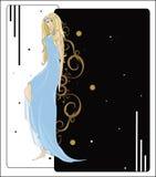 Romantische Blondine in einem blauen Kleid Lizenzfreie Stockbilder