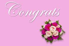 Romantische Blumen-Congrats-Karte mit Blumenblumenstrauß Stockfoto