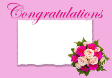 Romantische Blumen-Congrats-Karte mit Blumenblumenstrauß Lizenzfreie Stockbilder