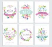 Romantische Blumenhand gezeichneter Kartensatz Lizenzfreie Stockbilder