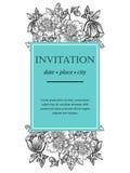 Romantische botanische uitnodiging Stock Foto