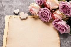 Romantische brievenachtergrond, lege ruimte Royalty-vrije Stock Fotografie