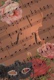 Romantische Carnaval-het fasching mardigras met muziek en viool stock afbeelding