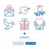 Romantische dünne Linie Ikonen eingestellt stock abbildung
