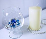 Romantische dag met kaars Nieuw jaar of romantisch Royalty-vrije Stock Afbeeldingen