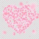 Romantische dalende het hartvorm van bloembloemblaadjes EPS 10 vector Stock Foto's