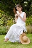 Romantische damezitting Royalty-vrije Stock Fotografie