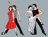 Romantische dansende paren Stock Afbeeldingen