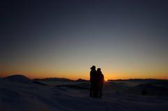 Romantische de winterzonsondergang Royalty-vrije Stock Foto