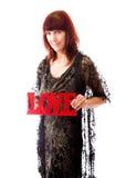 Romantische die mensen in liefdeschot in studio op een achtergrond worden geïsoleerd Stock Foto's