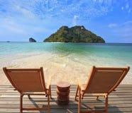 Romantische Ecke auf dem Strand Stockbilder
