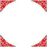 Romantische Eckgrenze auf weißem Hintergrund Dekorativer Rahmen mit kleinen roten Herzen Lizenzfreie Stockfotografie