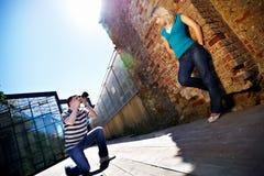 Romantische fotospruit met vrouw Royalty-vrije Stock Afbeeldingen