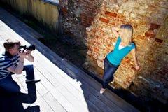 Romantische fotospruit met vrouw Royalty-vrije Stock Foto