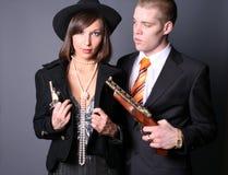 Romantische gangsters stock afbeeldingen