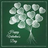 Romantische geweißte Herzform steigt Blumenstrauß im Ballon auf Lizenzfreie Stockfotografie