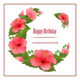 Romantische groetkaart met Hibiscusbloemen Royalty-vrije Stock Afbeeldingen