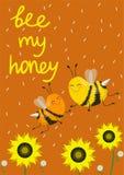 Romantische groetkaart voor de Dag of het huwelijk van Valentine s, of een druk op een t-shirt Paar van bijen in liefde Vector il royalty-vrije illustratie
