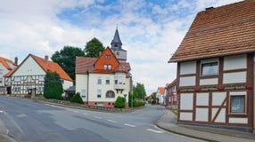 Romantische Hälfte-timberred alte Häuser Lizenzfreies Stockfoto