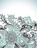 Romantische hand getrokken bloemenachtergrond Stock Afbeelding