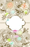Romantische hand getrokken bloemenachtergrond met etiket Stock Afbeelding