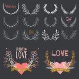 Romantische hand getrokken inzameling van laurels, kronen vector illustratie