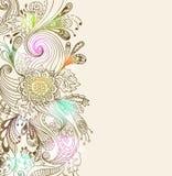 Romantische Hand gezeichneter Blumenhintergrund Stockbild